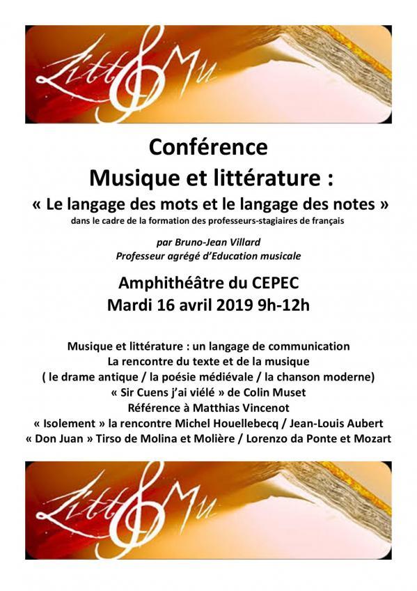 Conference musique et litterature