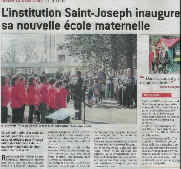 Inauguration maternelle saint joseph mars 2016