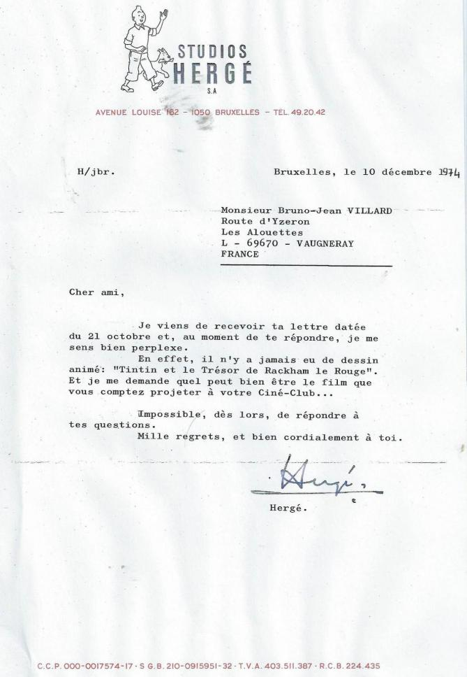 Lettre herge 10 decembre 1974