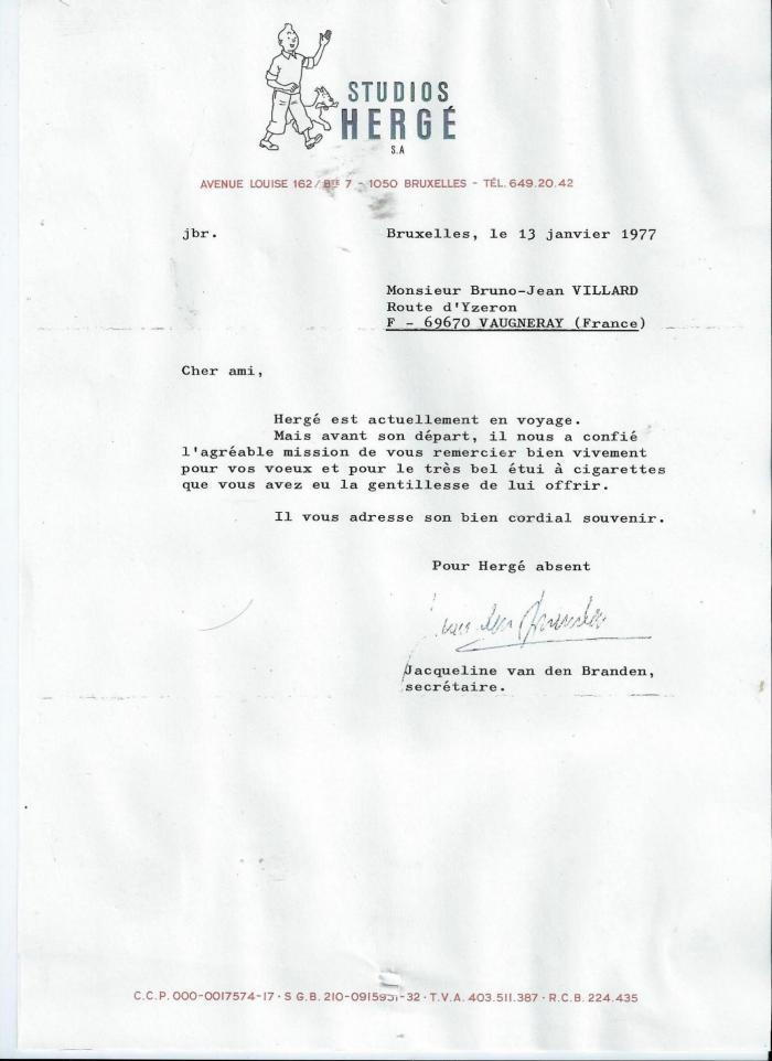 Lettre herge 13 janvier 1977