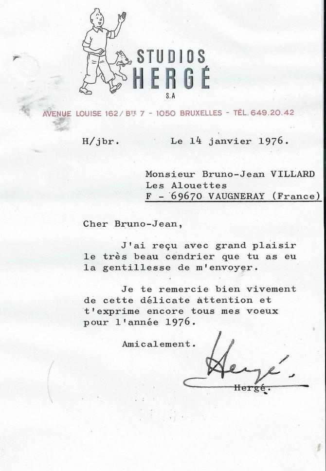 Lettre herge 14 janvier 1976