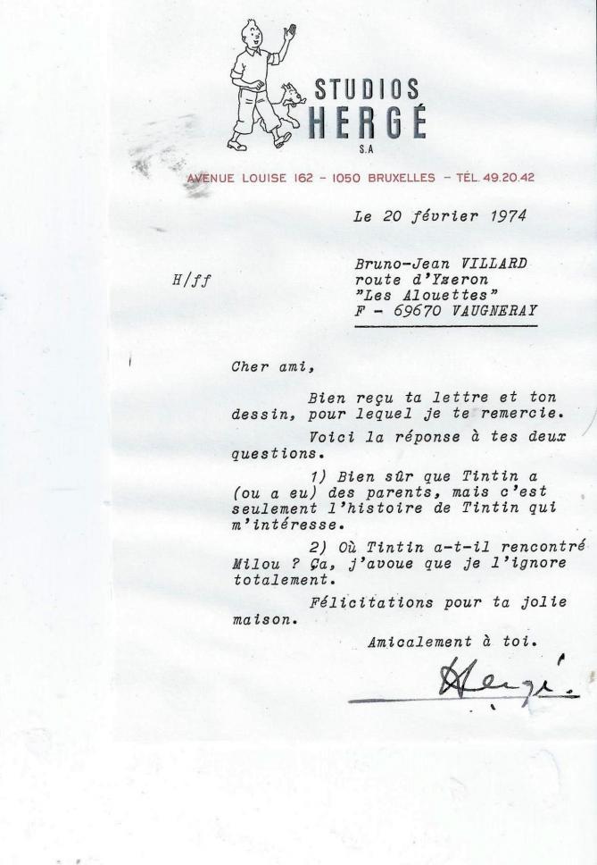 Lettre herge 20 fevrier 1974