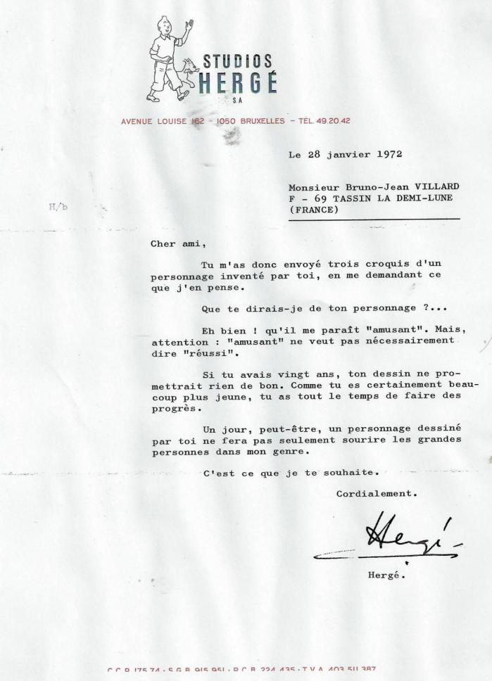 Lettre herge 28 janvier 1972