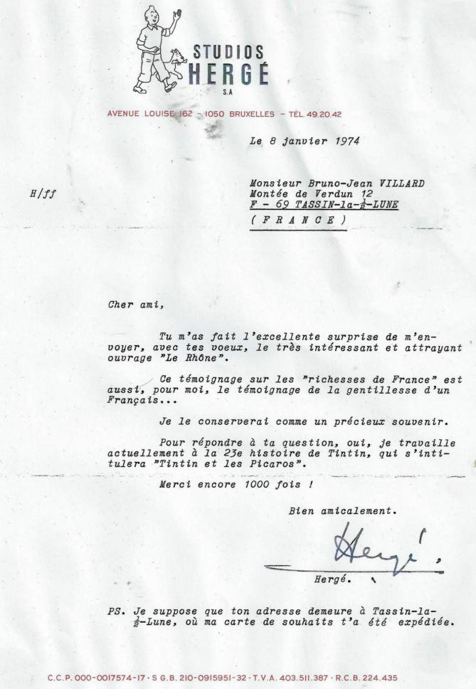 Lettre herge 8 janvier 1974