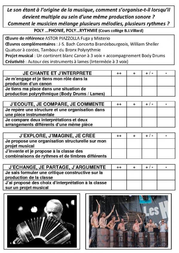 Problematique et competences poly phonie et poly rythmie 5 a5