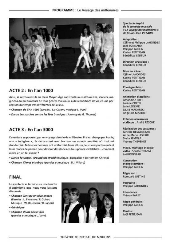 Programme les millenaires 2013 2