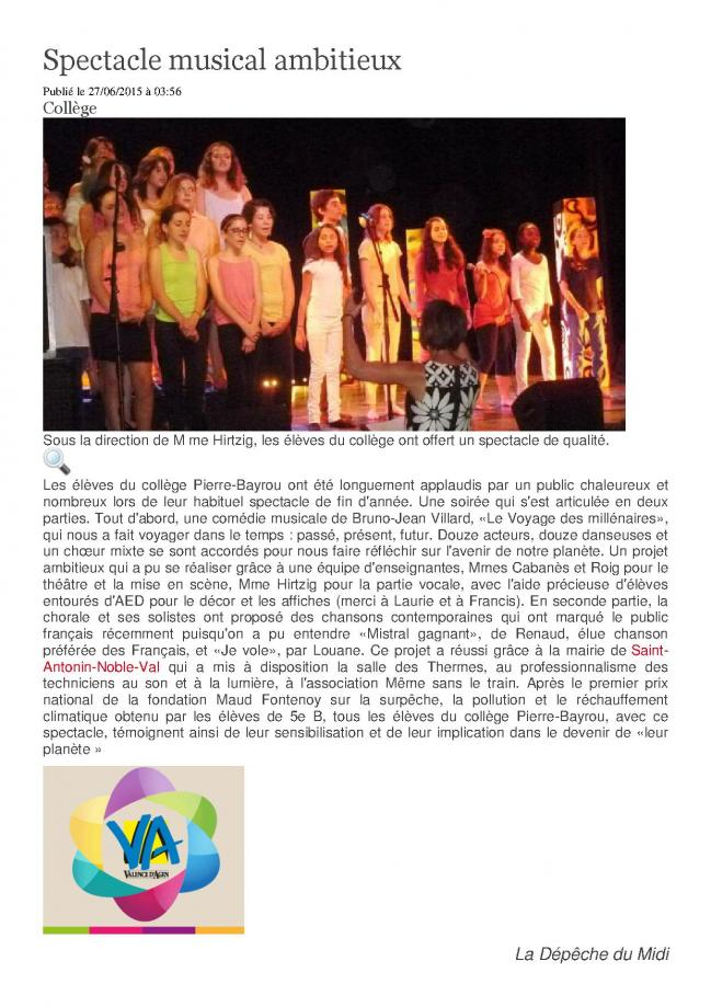 Spectacle musical ambitieux
